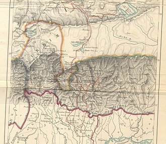 Kingdom of Sikkim - Historical map of Sikkim in northeastern India