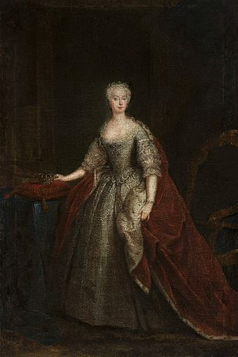 One of the first portraits of Augusta of Saxe-Gotha as Princess of Wales by William Hogarth, 1736-1738, National Museum in Warsaw Hogarth Princess Augusta of Saxe-Gotha.jpg