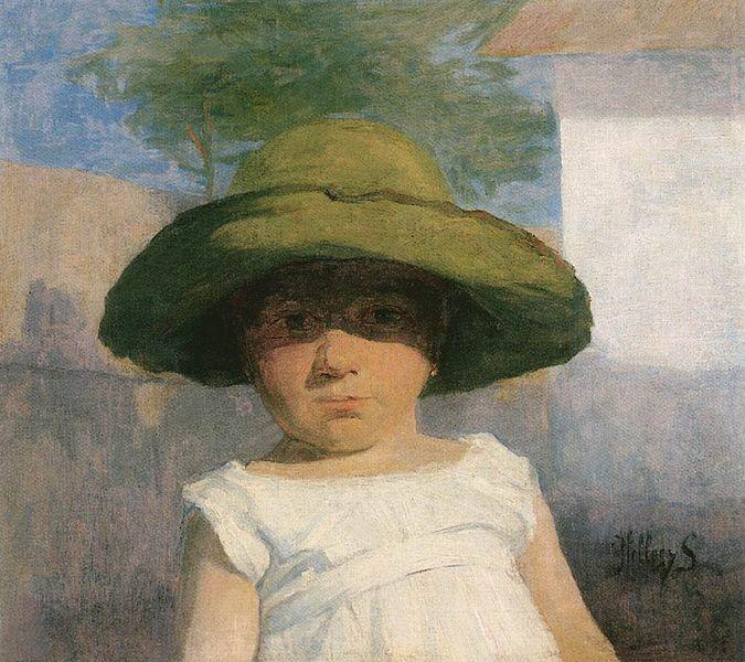 """> Portrait """"Jeune fille avec un large chapeau vert"""" de Simon Hollósy à la Galerie Nationale Hongroise."""