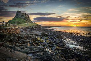 Lindisfarne tidal island in northeast England