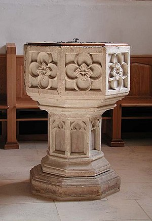 Holy Trinity Church, Weston - Image: Holy Trinity, Weston, Herts Font geograph.org.uk 359714