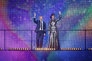 Eurovision Song Contest's Greatest Hits - Graham Norton and Petra Mede, the show's two hosts, during the show at the Eventim Apollo.