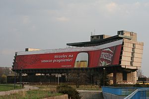 Billboard - Billboard at the closed Forum Hotel in Kraków, Poland. It is the biggest billboard in Europe. It displays a new advertisement every month.
