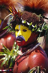 Huli man from the Southern Highlands, Papua New Guinea. New Guinea has more than 1,000 indigenous languages.