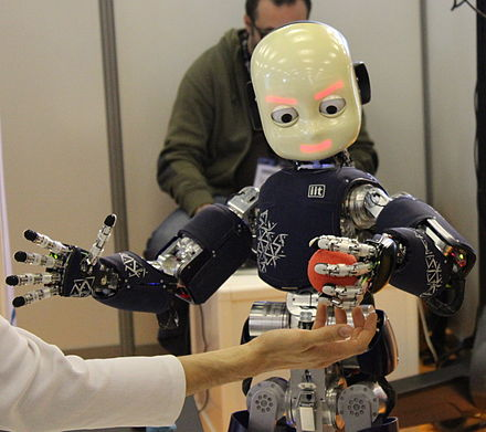 iCub is physically anthropomorphic. ICub Innorobo Lyon 2014.JPG