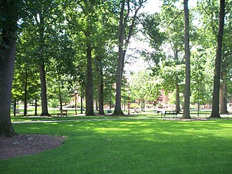 Indiana University of Pennsylvania - The Oak Grove looking towards Stapleton Library during summer.