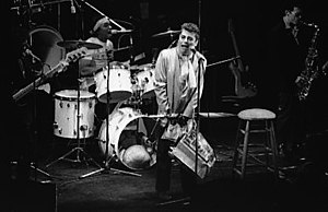 The Blockheads - Left to right: Norman Watt-Roy (bass), Charley Charles (drums), Ian Dury (vocals) and Davey Payne (saxophone)