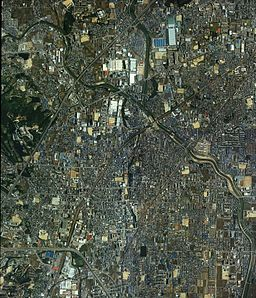 Ibaraki city Osaka Prefecture center area Aerial photograph.1985.jpg