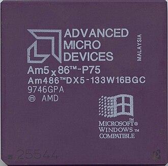 Am5x86 - Image: Ic photo AMD Am 5x 86 P75 (Am 486DX5 133W16BGC) (486 CPU)