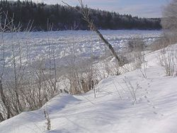 Ice jam along the Allagash River at Allagash, ME (ALLM1) in December 2003.jpg
