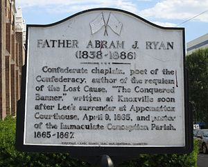 Abram Joseph Ryan - Historical marker at Immaculate Conception Church (Knoxville, Tennessee)