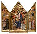 Imone di Filippo. Trittico con Madonna, il Bambino e santi. 1390-1399, tempera e oro su tavola – Londra, Firenze, Galleria Moretti.jpg