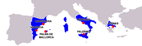 The greatest extent of the territories controlled by the Crown of Aragon, c. 1350 Imperio de Aragon.png