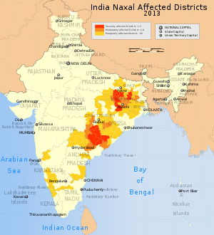 India map Naxal Left-wing violence or activity affected districts 2013.SVG