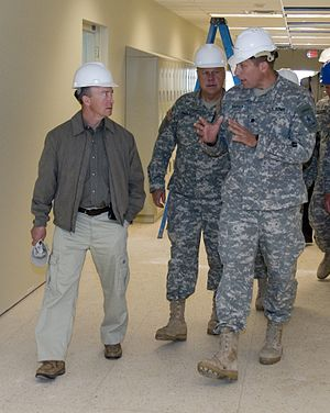 Mitch Daniels - Mitch Daniels (left) talking to members of the Indiana National Guard.