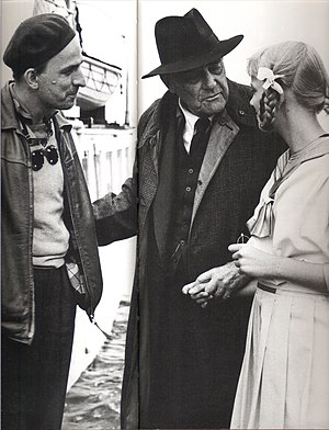 Lena Bergman - Bergman (right) with Ingmar Bergman and Victor Sjöström during production of Wild Strawberries, 1957