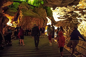 Jewel Cave National Monument - Visitors and guide inside Jewel Cave