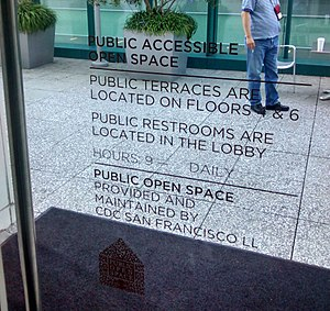 Privately owned public space - The sign to the terrace of the Intercontinental Hotel in San Francisco, CA, a privately owned public space