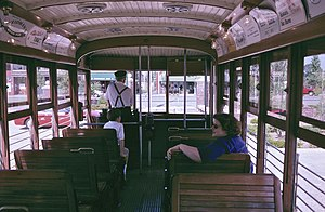 Fort Smith Trolley Museum - Interior view of Birney car 224
