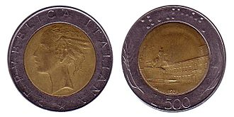 Coin rolling scams - The obsolete 500 Italian Lira coin, which is similar to the 2 Euro coin.