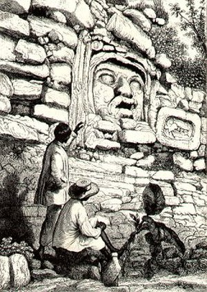 Izamal - Pre-Columbian stucco head, 7 ft 8 in (2.3 m) high, as drawn by Catherwood