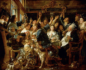 Bean-feast - Jacob Jordaens, The Bean King. Oil on canvas, ca. 1640- 1645.