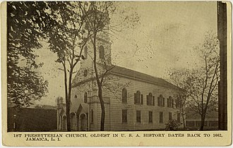 First Presbyterian Church in Jamaica - Postcard of the church from the 1920s