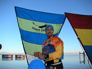 Adventure racing - Setting up a kayak sail just before the start of Primal Quest 2003.