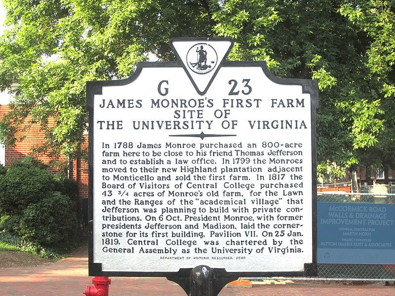 James Monroe marker at Univ. of VA IMG 4248.JPG