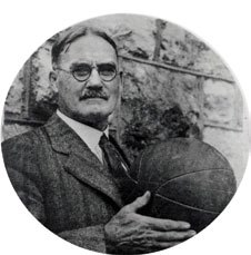 James Naismith with a basketball
