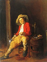 Boy Holding a Tankard and a Pipe