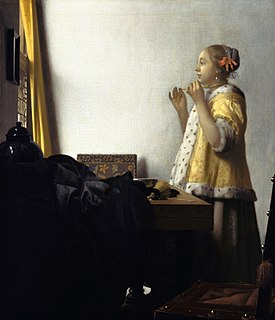 <i>Woman with a Pearl Necklace</i> painting by Johannes Vermeer