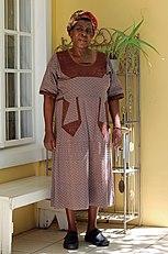 Zdjęcie kobiety noszącej shweshwe