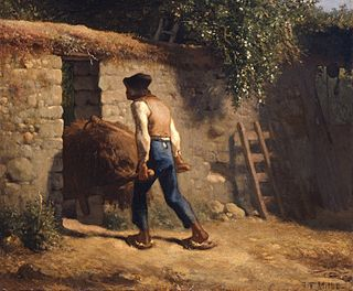 <i>Peasant with a Wheelbarrow</i> 19th-century painting by Jean-François Millet