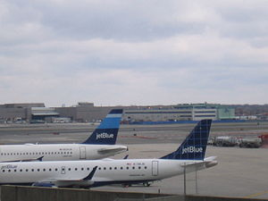 JetBlue aircraft parked at their gates.