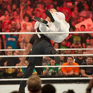 Powerslam - The Rock performing the Rock Bottom (side slam) on Daniel Bryan.