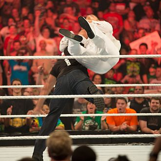 WWE Raw 1000 - The Rock hitting Daniel Bryan with a Rock Bottom.