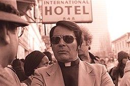 Jim Jones in front of the International Hotel