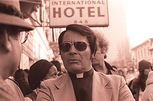Jim Jones - Jones at an anti-eviction protest in front of the International Hotel in 1977