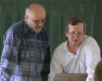 Vlastimil Klíma - Vlastimil Klíma (on the right) during a lecture on hash functions