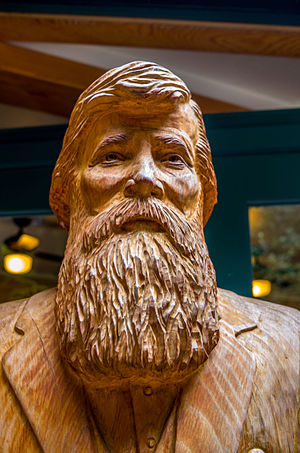 Muir Woods National Monument - A wood statue of John Muir at the Muir Woods National Monument