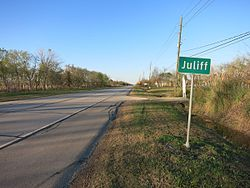Juliff sign on FM 521 looking north