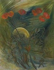Rode bloemen (papavers?) bij maanlicht