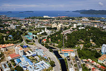 Ariel view of Kota Kinabalu, the capital of Sabah, an East Malaysian state.