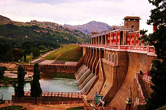 Ponnaiyar River - Krishnagiri Dam across the river