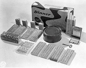 Ancel Keys - An example of a K-ration dinner. All the components were intended to fit into a box which would fit into a soldier's pocket