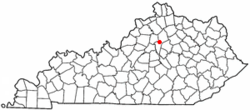 Location of Midway, Kentucky
