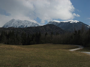Kalce Ridge - The Kalce Ridge (left) and Krvavec (right)