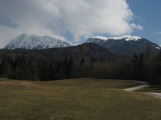 Kalce Ridge - The Kalce Ridge (left) and Krvavec (right)