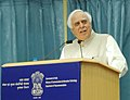 Kapil Sibal addressing at the signing ceremony of the Tripartite MoU on Right of Way for National Optical Fibre Network between GOI, State Government and BBNL, in New Delhi on April 12, 2013.jpg